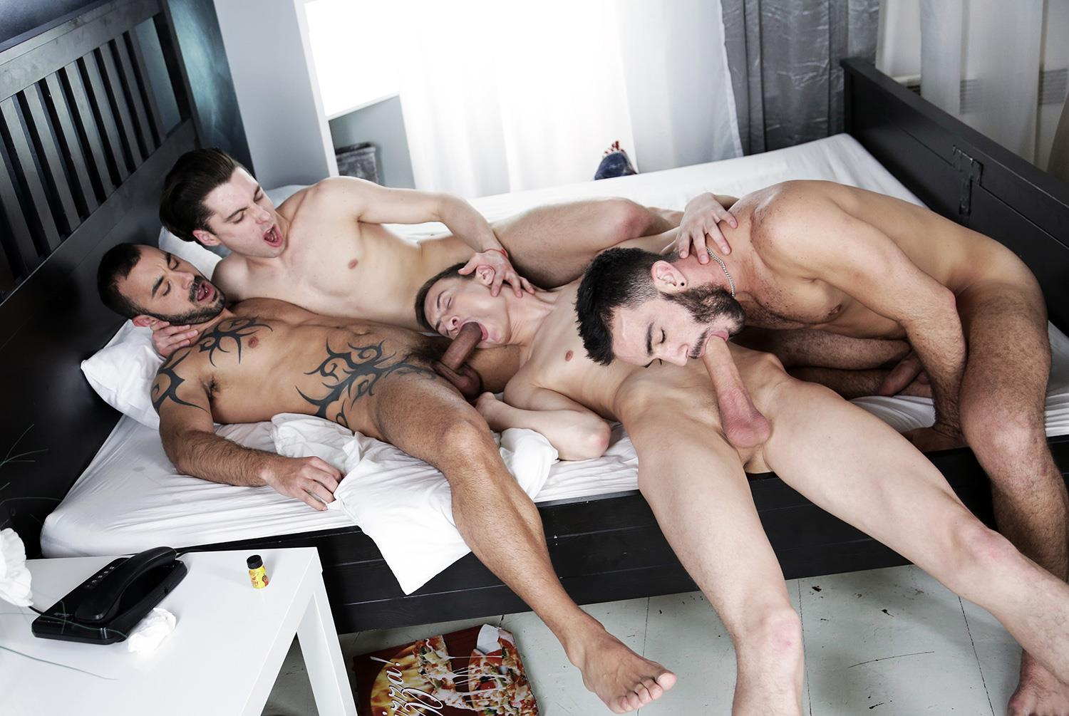 Staxus-Alejandro-Alvarez-and-Jace-Reed-and-Johny-Cruz-and-Xavi-Duran-Triple-Penetration-Bareback-Amateur-Gay-Porn-08 Twink Johny Cruz Gets Triple Penetrated Bareback With 3 Big Uncut Cocks