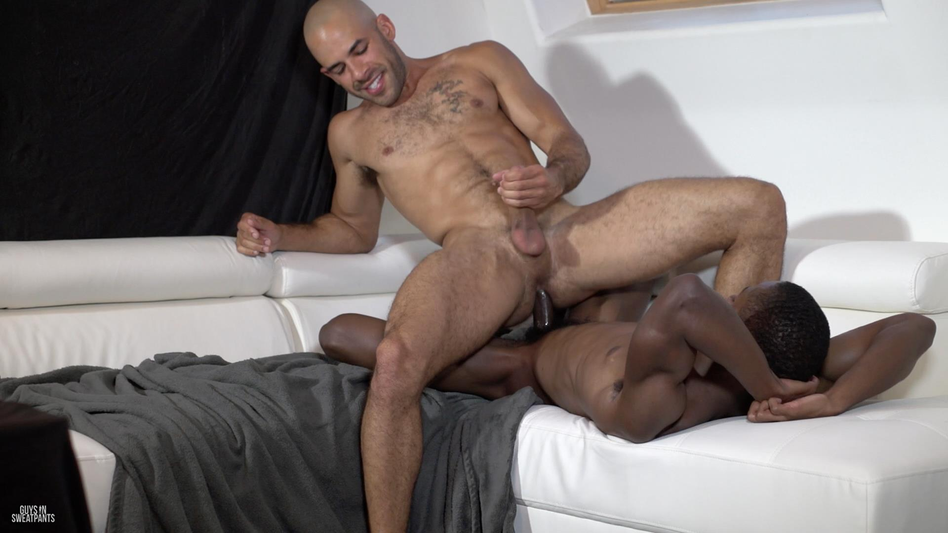 Guys-in-Sweatpants-Austin-Wilde-and-Liam-Cyber-Bareback-Interracial-Sex-Amateur-Gay-Porn-10 Austin Wilde Takes A Big Black Bareback Cock Up The Ass